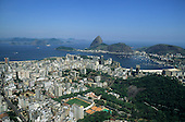 Rio de Janeiro, Brazil. View of the Sugarloaf and Botafogo from a low viewpoint with high-rise buildings in the foreground.