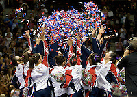 Both women's and men's gymnastics teams celebrate after being chose to compete in London 2012 during 2012 US Olympic Trials Gymnastics Finals at HP Pavilion in San Jose, California on July 1st, 2012.