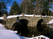 A stone double arch bridge which spans Beard Brook at the meeting of the Beard and Jones Road in Hillsborough, New Hampshire USA. Known as the Old Carr Bridge, built by Captain Jonathan Carr in 1840