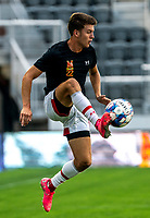 WASHINGTON, DC - SEPTEMBER 6: Maryland midfielder Nick Richardson (22) collects the ball during a game between University of Virginia and University of maryland at Audi Field on September 6, 2021 in Washington, DC.
