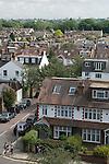 Barnes southwest London Uk. Housing rooftops. Church road.