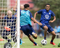 FRISCO, TX - JULY 20: Nicholas Gioacchini, Reggie Cannon battle for a ball during a training session at Toyota Soccer Center FC Dallas on July 20, 2021 in Frisco, Texas.