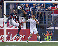 Foxborough, Massachusetts - May 28, 2016:  The New England Revolution (blue and white) beat the Seattle Sounders (white and green) 2-1 in a Major League Soccer (MLS) match at Gillette Stadium.