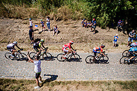 Peloton with Anthony Turgis (FRA/Cofidis) on the 2nd cobble section of the stage. <br /> <br /> Stage 9: Arras Citadelle > Roubaix (154km)<br /> <br /> 105th Tour de France 2018<br /> ©kramon