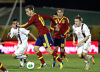 Spain's Canales and Norway's Elabdellaoui (l), Svensson (r) during an International sub21 match. March 21, 2013.(ALTERPHOTOS/Alconada) /NortePhoto