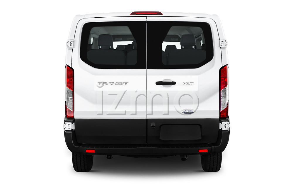 Straight rear view of a 2019 Ford Transit Wagon 150 XLT Wagon Low Roof Sliding Pass. 130 5 Door Passenger Van stock images