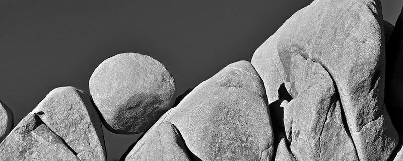 Round balancing rock. Joshua Tree National Park, California