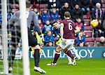 Hearts v St Johnstone…26.01.19…   Tynecastle    SPFL<br />Matt Kennedy crosses th ball into the box<br />Picture by Graeme Hart. <br />Copyright Perthshire Picture Agency<br />Tel: 01738 623350  Mobile: 07990 594431