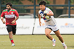 Minki Son (r) of South Korea runs with the ball during the match between South Korea and United Arab Emirates of the Asia Rugby U20 Sevens Series 2016 on 12 August 2016 at the King's Park, in Hong Kong, China. Photo by Marcio Machado / Power Sport Images