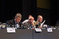 """5. Bundesparteitag der rechtspopulistischen Partei """"Alternative fuer Deutschland"""", AfD, in Stuttgart.<br /> Die Partei will auf dem Parteitag ein Parteiprogramm beschliessen.<br /> Im Bild: Joerg Meuthen, Landesvorsitzender Baden-Wuertemberg; Albrecht Glaser, AfD-Kandidat zur Wahl des Bundespraesidenten. Der stellvertretende AfD-Sprecher Glaser ist ehemaliges CDU-Mitglied und war als Stadtkaemmerer in Frankfurt verwickelt in umstrittene Fondgeschaefte und Alexander Gauland, stellvertretender Parteivorsitzender und Fraktionsvorsitzender der AfD im Brandenburgischen Landtag.<br /> 30.4.2016, Stuttgart<br /> Copyright: Christian-Ditsch.de<br /> [Inhaltsveraendernde Manipulation des Fotos nur nach ausdruecklicher Genehmigung des Fotografen. Vereinbarungen ueber Abtretung von Persoenlichkeitsrechten/Model Release der abgebildeten Person/Personen liegen nicht vor. NO MODEL RELEASE! Nur fuer Redaktionelle Zwecke. Don't publish without copyright Christian-Ditsch.de, Veroeffentlichung nur mit Fotografennennung, sowie gegen Honorar, MwSt. und Beleg. Konto: I N G - D i B a, IBAN DE58500105175400192269, BIC INGDDEFFXXX, Kontakt: post@christian-ditsch.de<br /> Bei der Bearbeitung der Dateiinformationen darf die Urheberkennzeichnung in den EXIF- und  IPTC-Daten nicht entfernt werden, diese sind in digitalen Medien nach §95c UrhG rechtlich geschuetzt. Der Urhebervermerk wird gemaess §13 UrhG verlangt.]"""