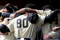 Vanderbilt Commodores pitcher Kumar Rocker (80) takes part in a group hug prior to the game against the Tennessee Volunteers on Robert M. Lindsay Field at Lindsey Nelson Stadium on April 17, 2021, in Knoxville, Tennessee. (Danny Parker/Four Seam Images)