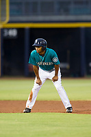 AZL Mariners left fielder DeAires Moses (8) takes his lead off of second base against the AZL Royals on July 29, 2017 at Peoria Stadium in Peoria, Arizona. AZL Royals defeated the AZL Mariners 11-4. (Zachary Lucy/Four Seam Images)