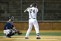 Gavin Sheets (24) of the Wake Forest Demon Deacons at bat against the Georgetown Hoyas at David F. Couch Ballpark on February 19, 2016 in Winston-Salem, North Carolina.  The Demon Deacons defeated the Hoyas 3-1.  (Brian Westerholt/Four Seam Images)