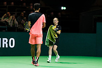 Rotterdam, The Netherlands, Ahoy, Tennis,<br /> ABNAMRO World Tennis Tournament, 13 Februari, 2018, Felix Auger-Aliassime (CAN) gets a zowel from a ballgirl<br /> Photo: www.tennisimages.com