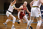 SIOUX FALLS, SD - MARCH 7: Meghan Boyd #0 of the Denver Pioneers tries to push the ball past Kylie Strop #2 of the North Dakota State Bison during the Summit League Basketball Tournament at the Sanford Pentagon in Sioux Falls, SD. (Photo by Richard Carlson/Inertia)