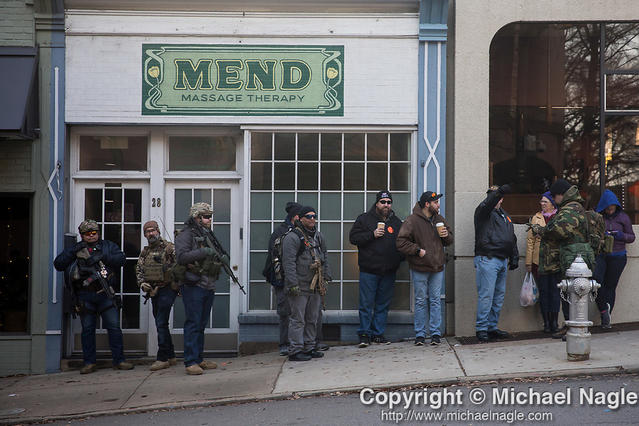RCIHMOND, VA — 1/20/20:  Pro-gun demonstrators rally during a gun-rights rally on Martin Luther Kind Day on Monday, January 20, 2020 in Richmond, VA.  (PHOTOGRAPH BY MICHAEL NAGLE)