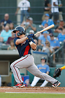 Potomac Nationals catcher Jakson Reetz (12) at bat during a game against the Myrtle Beach Pelicans at Ticketreturn.com Field at Pelicans Ballpark on July 19, 2018 in Myrtle Beach, South Carolina. Potomac defeated Myrtle Beach 6-3. (Robert Gurganus/Four Seam Images)