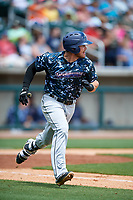 Jacksonville Jumbo Shrimp first baseman Taylor Ard (32) runs to first base during a game against the Birmingham Barons on April 24, 2017 at Regions Field in Birmingham, Alabama.  Jacksonville defeated Birmingham 4-1.  (Mike Janes/Four Seam Images)