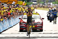 11th July 2021, Ceret, Pyrénées-Orientales, France; Tour de France cycling tour, stage 15, Ceret to  Andorre-La-Vieille;   KUSS Sepp (USA) of JUMBO - VISMA celebrates the win during stage 15 of the 108th edition of the 2021 Tour de France cycling race, a stage of 191,3 kms between Ceret and Andorre-La-Vieille.