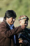 ©PATRICIO CROOKER<br /> Tarija, Bolivia<br /> A picture dated Saturday, July 8, 2006 shows Bolivian President Evo Morales talking with the Commander of the School of Bolivian Commandos, Colonel Ariñez in a ceremony in the southeast region of Bolivia.
