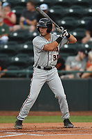 Shayne Fontana (31) of the Delmarva Shorebirds at bat during game one of the Northern Division, South Atlantic League Playoffs against the Hickory Crawdads at L.P. Frans Stadium on September 4, 2019 in Hickory, North Carolina. The Crawdads defeated the Shorebirds 4-3 to take a 1-0 lead in the series. (Tracy Proffitt/Four Seam Images)