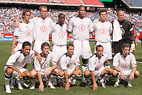 USA's starting 11. The United States defeated Jamaica 3 to 1 in quarterfinal CONCACAF Gold Cup action at Gillette Stadium, Foxbourgh, MA, on July 16, 2005.