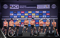 Team The Netherlands is presented to the crowd at the race start in Antwerpen<br /> <br /> Women Elite - Road Race (WC)<br /> from Antwerp to Leuven (158km)<br /> <br /> UCI Road World Championships - Flanders Belgium 2021<br /> <br /> ©kramon
