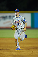Kingsport Mets center fielder Jarred Kelenic (20) jogs off the field between innings of the game against the Burlington Royals at Burlington Athletic Stadium on July 27, 2018 in Burlington, North Carolina. The Mets defeated the Royals 8-0.  (Brian Westerholt/Four Seam Images)