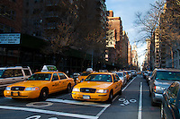 Yellow taxis on 5th avenue in New York City