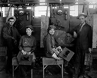 Women electric welders at Hog Island shipyard.  These are the first women to be engaged in actual ship construction, in the United States.  Ca.  1918.  Paul Thompson.  (War Dept.)<br /> Exact Date Shot Unknown<br /> NARA FILE #:  165-WW-595E-7<br /> WAR & CONFLICT BOOK #:  536
