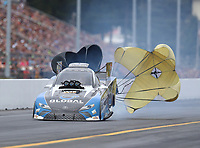 Sep 14, 2019; Mohnton, PA, USA; NHRA funny car driver Shawn Langdon during qualifying for the Reading Nationals at Maple Grove Raceway. Mandatory Credit: Mark J. Rebilas-USA TODAY Sports
