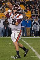 Virginia Tech quarterback Michael Brewer. The Pitt Panthers defeated the Virginia Tech Hokies 21-16 at Heinz Field, Pittsburgh Pennsylvania on October 16, 2014
