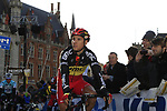 Belgian National Champion Philippe Gilbert (BEL) BMC Racing Team arrives at sign on before the start of the 96th edition of The Tour of Flanders 2012 in Bruges Market Square, running 256.9km from Bruges to Oudenaarde, Belgium. 1st April 2012. <br /> (Photo by Eoin Clarke/NEWSFILE).