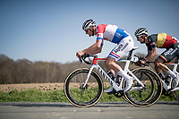 Dutch champion Mathieu Van der Poel (NED/Alpecin-Fenix) & teammate/Belgian champion Dries De Bondt (BEL/Alpecin-Fenix) atop the Holstraat<br /> <br /> 76th Dwars door Vlaanderen 2021 (MEN1.UWT)<br /> 1 day race from Roeselare to Waregem (184km)<br /> <br /> ©kramon