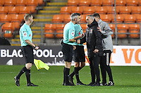 Blackpool's Manager Neil Critchley bumps fists with the referee after the game, despite the red card<br /> <br /> Photographer Dave Howarth/CameraSport<br /> <br /> EFL Trophy - Northern Section - Group G - Blackpool v Leeds United U21 - Wednesday 11th November 2020 - Bloomfield Road - Blackpool<br />  <br /> World Copyright © 2020 CameraSport. All rights reserved. 43 Linden Ave. Countesthorpe. Leicester. England. LE8 5PG - Tel: +44 (0) 116 277 4147 - admin@camerasport.com - www.camerasport.com
