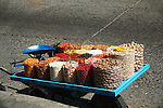 PULL CART WITH SWEETS AND NUTS ON STREET IN MEXICO