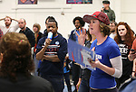Bernie Sanders supporter Kellan Adams speaks to two undecided caucus attendees at the Democratic Caucus at Libby Booth Elementary School, in Reno, Nev. on Saturday, Feb. 20, 2016. Cathleen Allison/Las Vegas Review-Journal