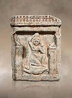 Egyptian stele of Theanou, limestone, Roman Period, 1st cent AD, Com Abu Billo, cat 18117. Egyptian Museum, Turin.