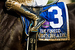 SARATOGA SPRINGS, NY - AUGUST 26: Toms Ready's saddle cloth from the Forego Stakes at Saratoga Race Course on August 26, 2017 in Saratoga Springs, New York.(Photo by Alex Evers/Eclipse Sportswire/Getty Images)