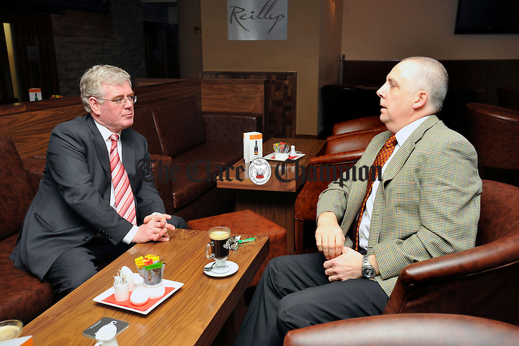 Labour leader Eamonn Gilmore chats with local councillor Paschal Fitzgerald during his visit to South East Clare. Photograph by John Kelly.