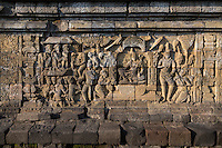 Borobudur, Java, Indonesia.  Bas-relief Stone Carving, North Face.  Scenes from the Buddha's Life, Showing him Seeking Enlightenment.