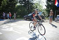 Marcel Wyss (SUI/IAM) up the final climb to Chamrousse (1730m/18.2km/7.3%)<br /> <br /> 2014 Tour de France<br /> stage 13: Saint-Etiènne - Chamrousse (197km)