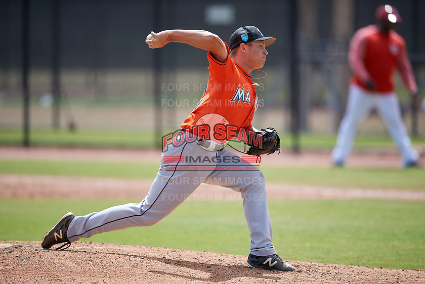 Miami Marlins pitcher RJ Peace (97) during a Minor League Spring Training game against the Washington Nationals on March 28, 2018 at FITTEAM Ballpark of the Palm Beaches in West Palm Beach, Florida.  (Mike Janes/Four Seam Images)