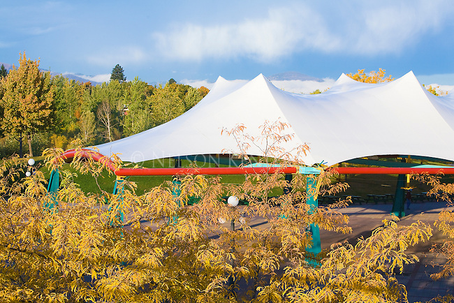 The Caras Park tent and fall color in Missoula, Montana