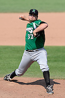 Dayton Dragons pitcher Nick Travieso (32) during a game against the Lansing Lugnuts on August 25, 2013 at Cooley Law School Stadium in Lansing, Michigan.  Dayton defeated Lansing 5-4 in 11 innings.  (Mike Janes/Four Seam Images)