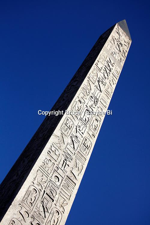 A closed up view of Obelisk on Place de la Concorde. Paris. France