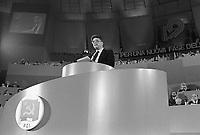 """- 19° congresso del P.C.I. (Partito Comunista Italiano),il primo dopo la svolta politica detta """"della Bolognina"""" che porterà il partito allo scioglimento; parla il segretario Achille Occhetto (marzo 1990)..- 19th congress of P.C.I.  (Italian Communist Party), the first after the political turn known as """"of the Bolognina"""" that will carry the party to the breakup; speak the secretary Achille Occhetto (Mars 1990)"""