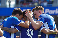 SAN JOSE, CA - AUGUST 8: Javier Lopez #9 of the San Jose Earthquakes celebrates scoring with teammates during a game between Los Angeles FC and San Jose Earthquakes at PayPal Park on August 8, 2021 in San Jose, California.