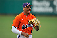Redshirt freshman outfielder K.J. Bryant (10) (Wade Hampton High School) of the Clemson Tigers before a fall practice intra-squad Orange-Purple scrimmage on Sunday, September 27, 2015, at Doug Kingsmore Stadium in Clemson, South Carolina. (Tom Priddy/Four Seam Images)