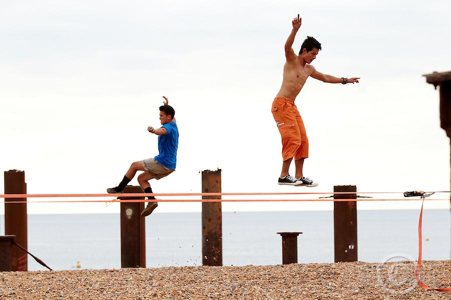 Slackline Brighton , July 2011 pic copyright Steve Behr / Stockfile